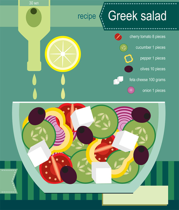 "Ariadna's illustration and recipe infographics ""Greek Salad"""