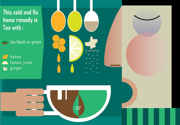 "Ariadna's illustration and recipe infographics ""Ginger Tea"""
