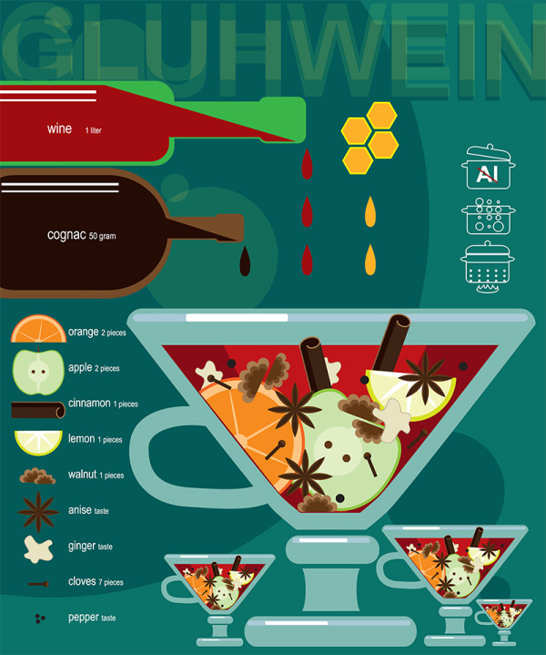 "Ariadna's illustration and recipe infographics ""Gluhwein"""