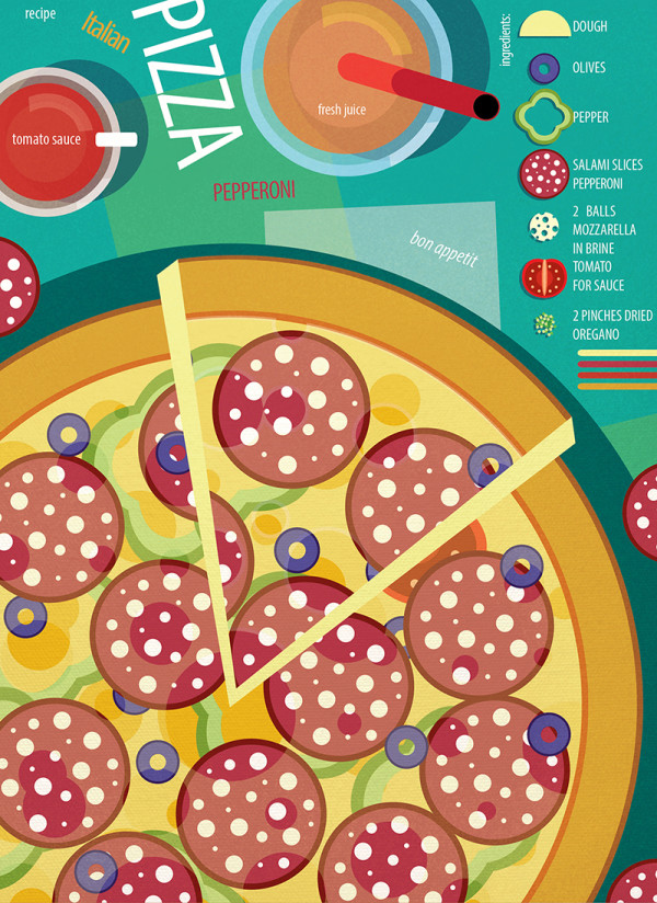 "Ariadna's illustration and recipe infographics ""Pizza"""