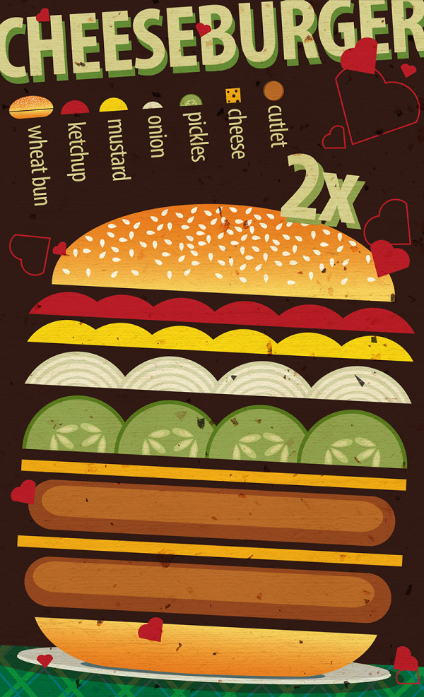 "Ariadna's illustration and recipe infographics ""Cheeseburger"""