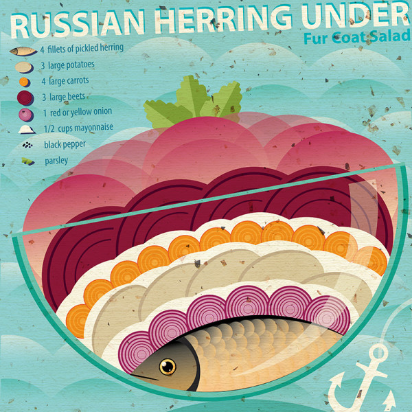 "Ariadna's illustration and recipe infographics ""Herring under a fur coat"""