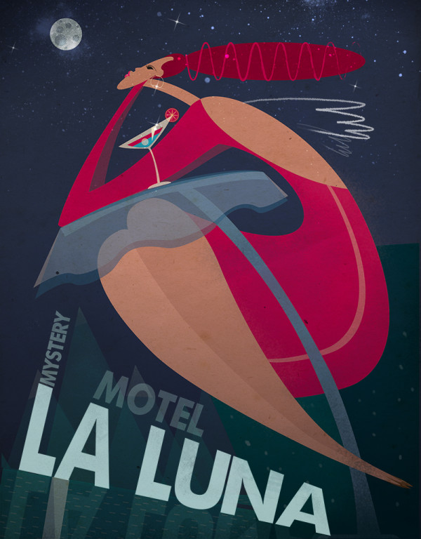 "Ariadna's illustration ""Motel la luna"""