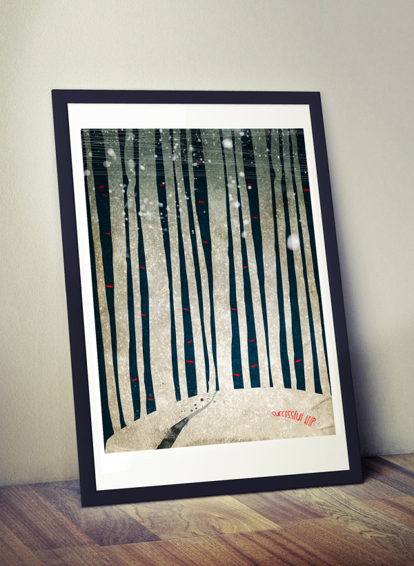 """Mockup of Ariadna's illustration """"Snowy forest"""""""