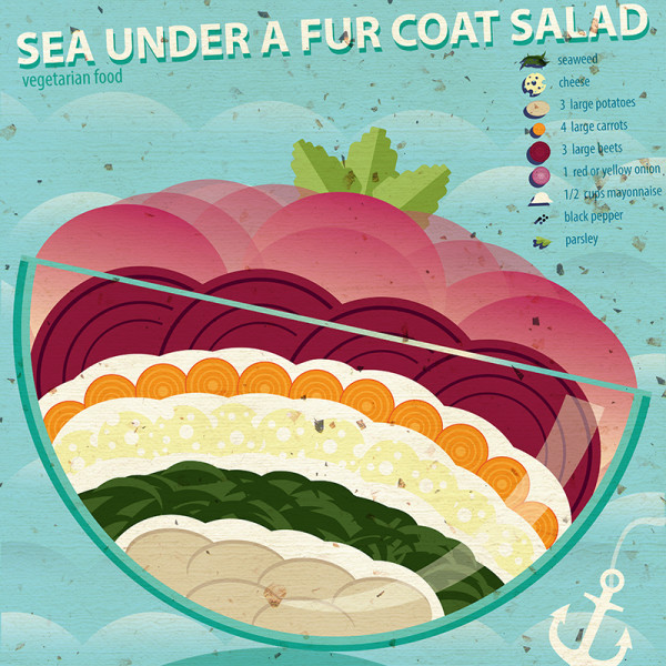 "Ariadna's illustration and recipe infographics ""Sea under a fur coat"""