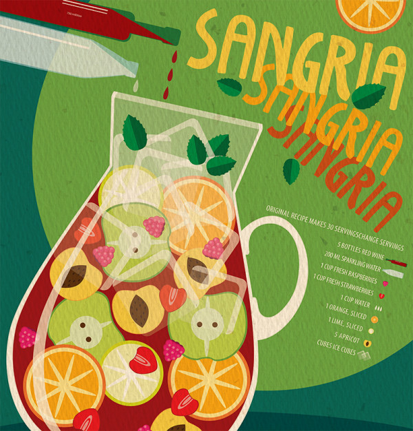"Ariadna's illustration and recipe infographics ""Sangria"""