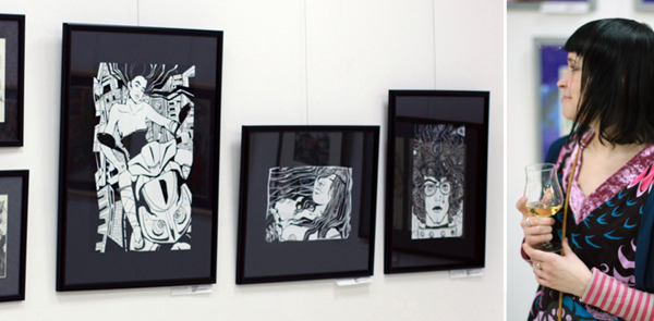 Photo of the Artworks by Ariadna in the Exhibition. Russisches Haus der Wissenschaft und Kultur. Germany, Berlin. 2012