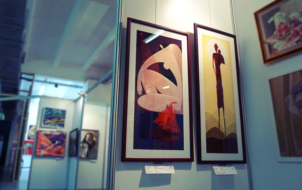 Photo of the Artworks by Ariadna in the Exhibition. ARTPLAY Design Center. Russia, Moscow. 2015