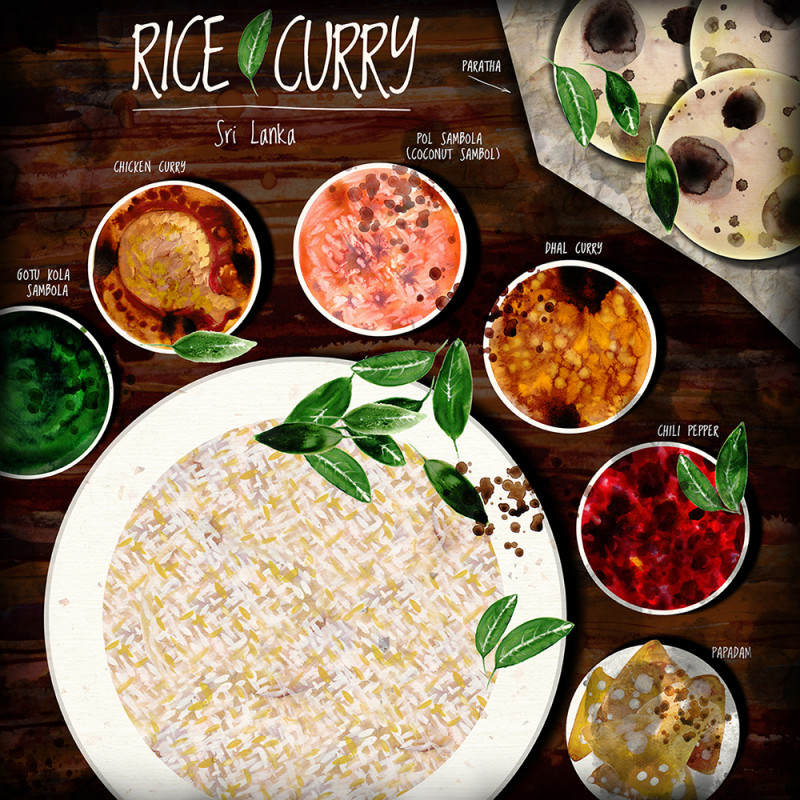 "Ariadna's illustration ""Rice curry"""