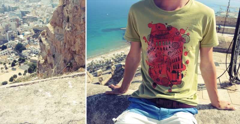 """T-shirt with Ariadna's illustration """"Ancient Cityscape"""""""