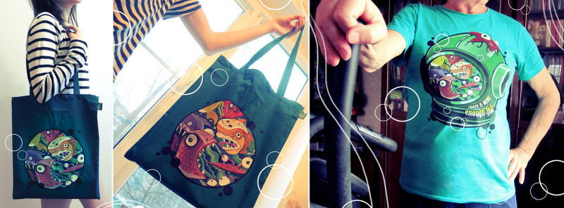 "Shopping bag and t-shirt with Ariadna's illustration ""Fish"""