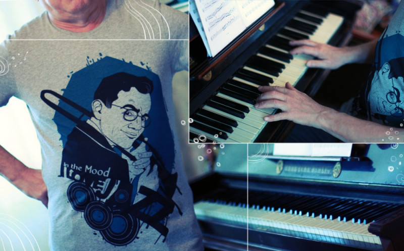 "T-shirt ""Glen Miller"" with Ariadna's illustration ""In the mood"""