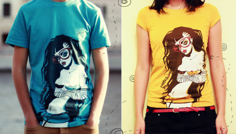 "T-shirts with Ariadna's illustration ""Watching you"""