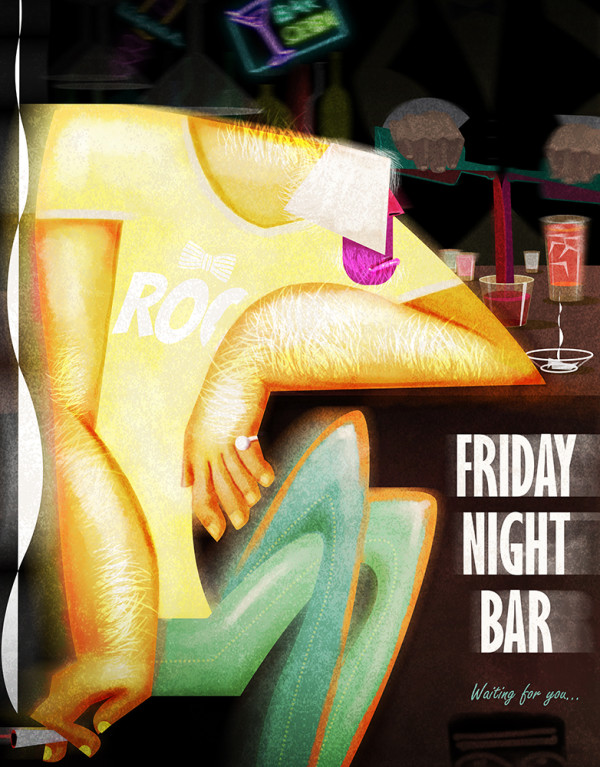 "Ariadna's illustration ""Friday night bar"""