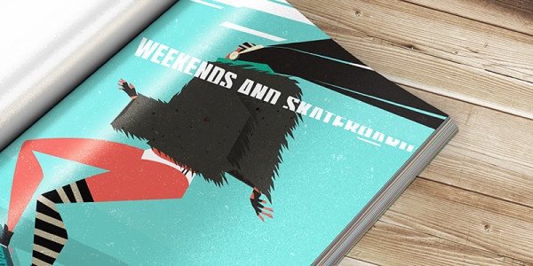 "Mockup of Ariadna's illustration ""Weekends and skateboard"" close-up"