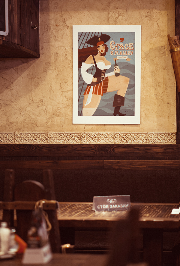 "Photo in pub of Ariadna's illustration ""Grace O'Malley"""