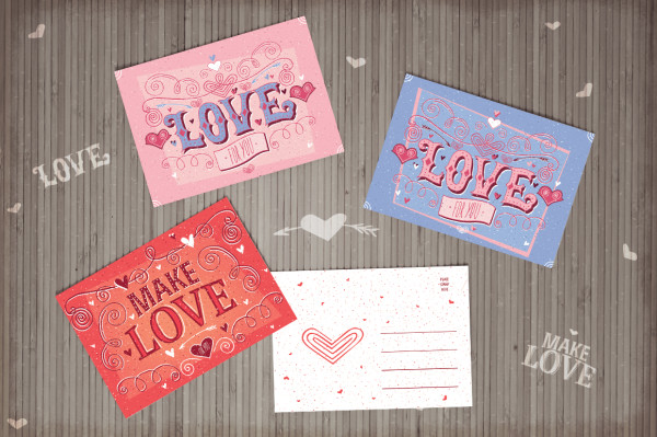 Valentine's Day cards with Ariadna's illustrations