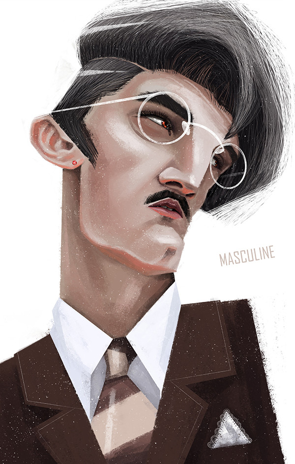 "Ariadna's illustrations ""Masculine portrait"""