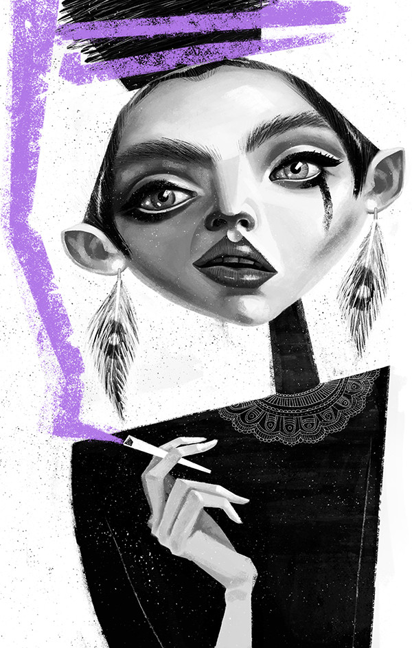 "Ariadna's illustration ""Girl with a cigarette"""