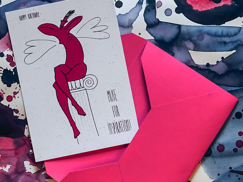 """Photo of card with Ariadna's illustration """"Muse for inspiration"""""""