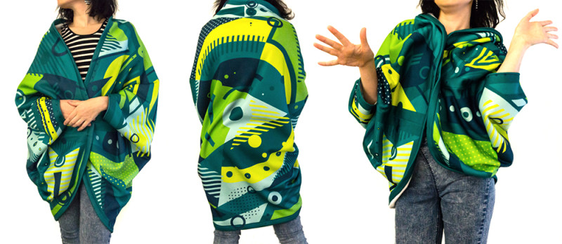 Green Jacket with with geometric pattern