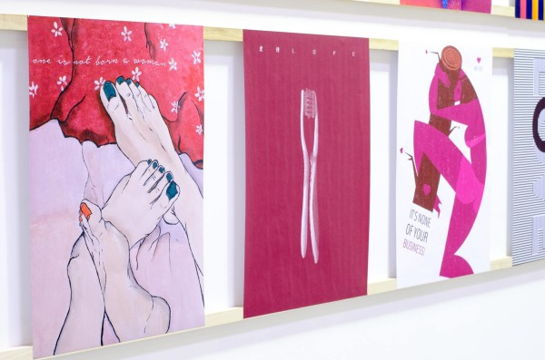 "Photo of Ariadna's illustration ""It's None Of Your Business"" at the exhibition ""Posterheroes 6"""