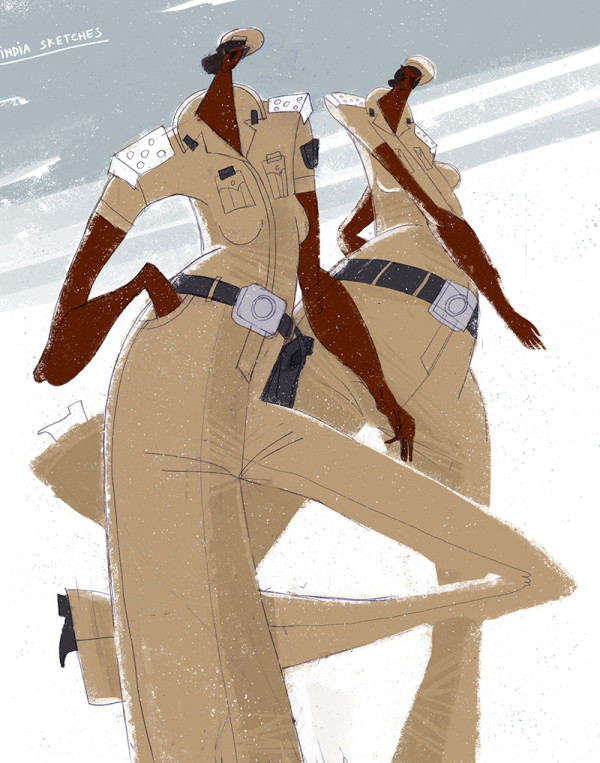 "Ariadna's illustration ""Indian police woman"""