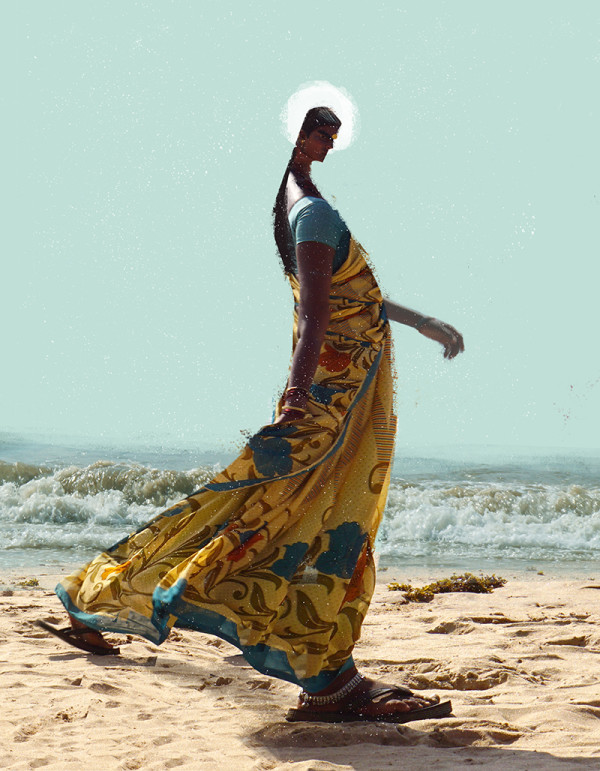 "Ariadna's illustration ""Indian woman walking on the beach"""