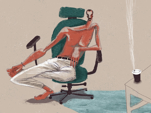 "Ariadna's illustration ""Man sitting in a chair, next to the coffee"""