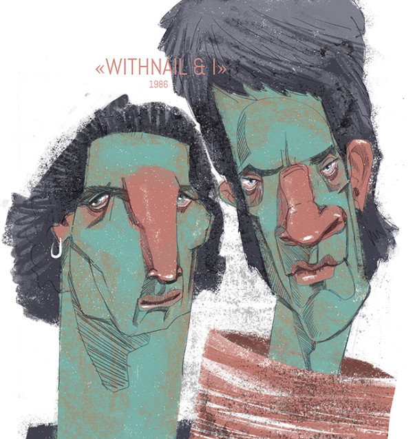 "Ariadna's illustration ""Portrait of film Withnail and I"""